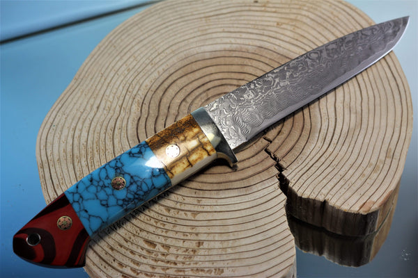 "Mr. Itou  IT-66 Drop Point Hunter ""5-1/2"" R2 Damascus Blade, Gorgeous Combo Handle"""