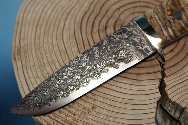 "Mr. Itou  IT-71 Drop Point Hunter, 4-5/8"" R2 Damascus blade ""Mammoth Molar Tooth Handle"""