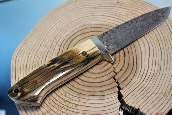"Mr. Itou  IT-72 Drop Point Hunter, 4-1/2"" R2 Damascus blade ""Mammoth Ivory Handle"""