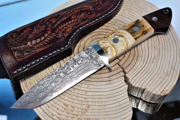 "Mr. Itou  IT-74 Drop Point Hunter, 4-5/8"" R2 Damascus blade ""Premium Combo Handle"""