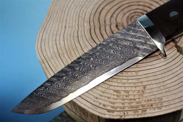"Mr. Itou  IT-78 Drop Point Hunter, 5-3/4"" R2 Damascus blade ""Premium Desert Ironwood Handle"""
