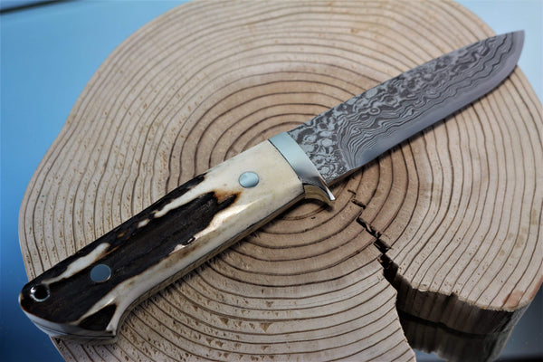 "Mr. Itou  IT-84 Drop point Hunter ""4-1/2"" R2 Damascus Blade, Sambar Stag Handle"""