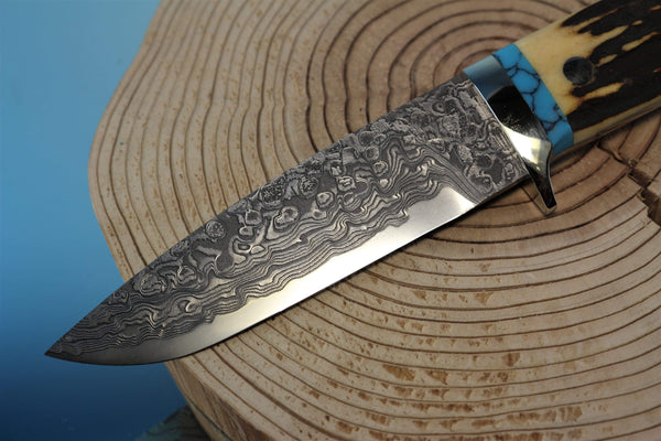 "Mr. Itou  IT-85 Drop point Hunter ""4-3/4"" R2 Damascus Blade, Sambar Stag Handle with Turquoise Spacer"