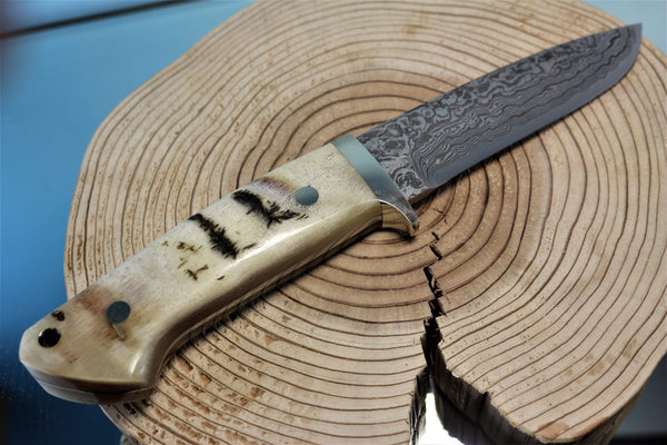 "Mr. Itou  IT-88 Drop point Hunter ""4-3/4"" R2 Damascus Blade, Ibex Horn Handle"""
