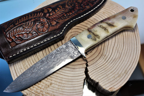 "Mr. Itou  IT-90 Drop point Hunter ""4-3/4"" R2 Damascus Blade, Sheep Horn Handle"""