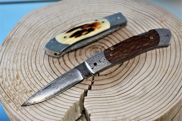 "Seizo Imai SI-10 ""PLUMERIA"", Lockback Folder, VG-10 Damascus Blade, Genuine Stag or Northern Milky Oak Wood Handle"""