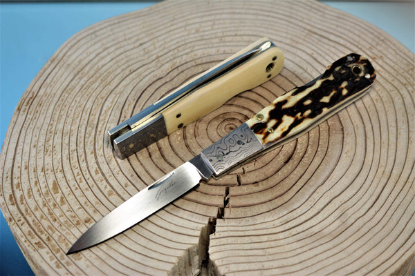 "Seizo Imai SI-11 ""VRIESEA"", Lockback Folder, ATS-34 Blade, Genuine Stag or Ivory Handle"""