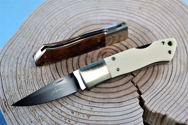 "Seizo Imai SI-7 ""JESS HORN"", Lockback Folder, ATS-34 Blade, Ivory Micarta or Amber Resin Handle"""