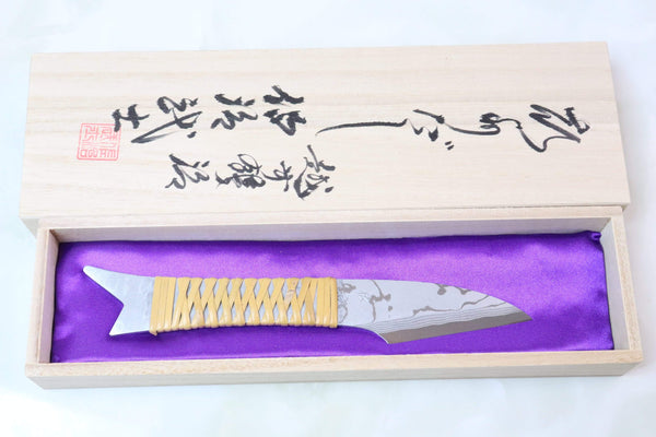 Takeshi Saji TS-40 Kiridashi-Seiryu | White Steel No.2 Damascus - JapaneseKnifeDirect.Com