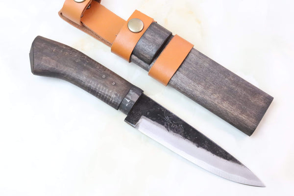 Takeshi Saji TS-65  SASANOHA | Black Forged White Steel No.2 San Mai - JapaneseKnifeDirect.Com