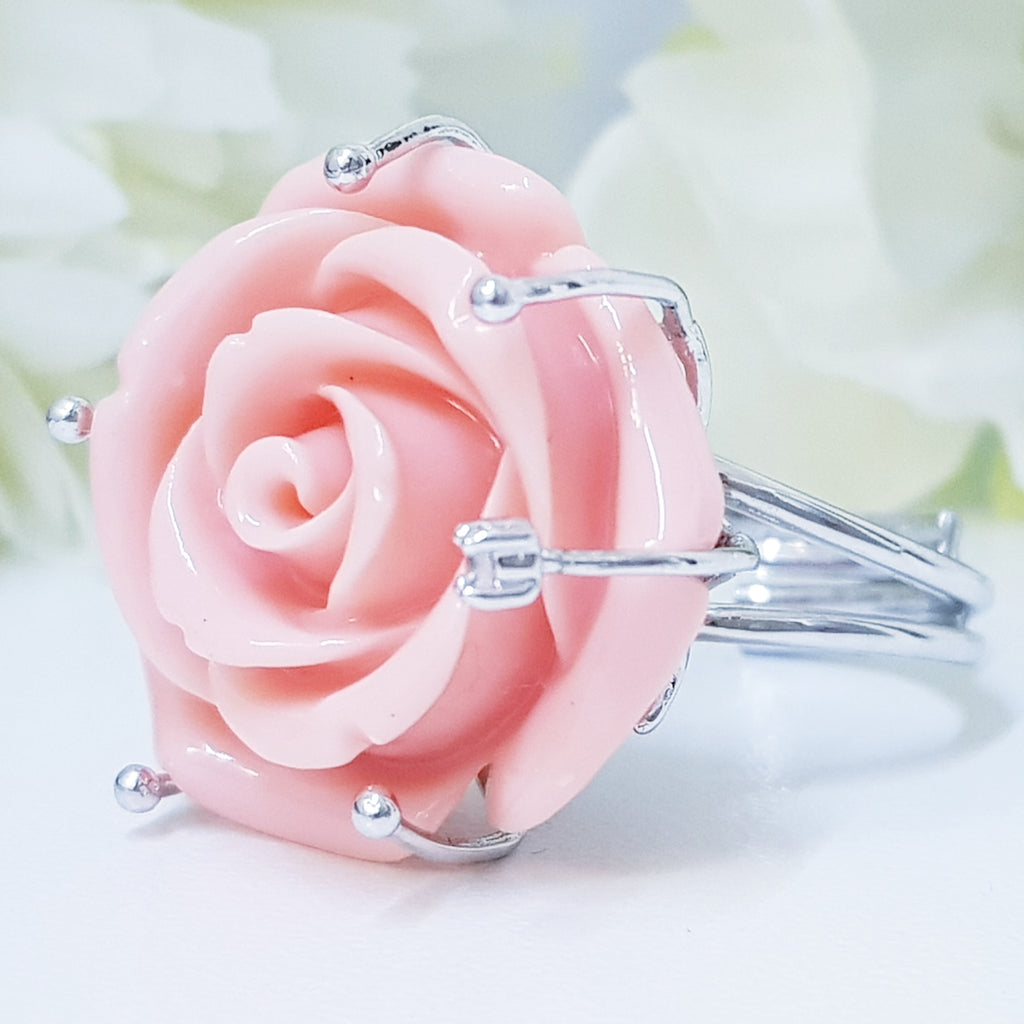 Large Sterling Silver Rose Ring