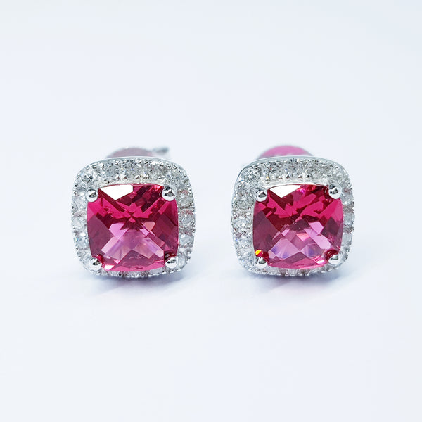 Ruby red stud earrings, square earrings, cushion cut halo earrings