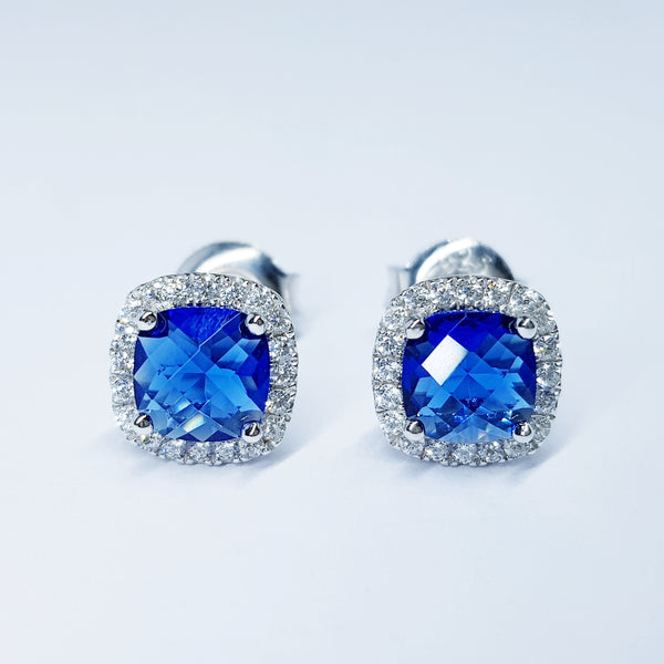 Sapphire blue stud earrings, square earrings, cushion cut halo earrings, September birthstone earrings