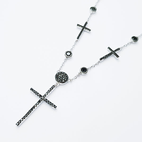 Sterling Silver multiple cross necklace, black Cross necklace