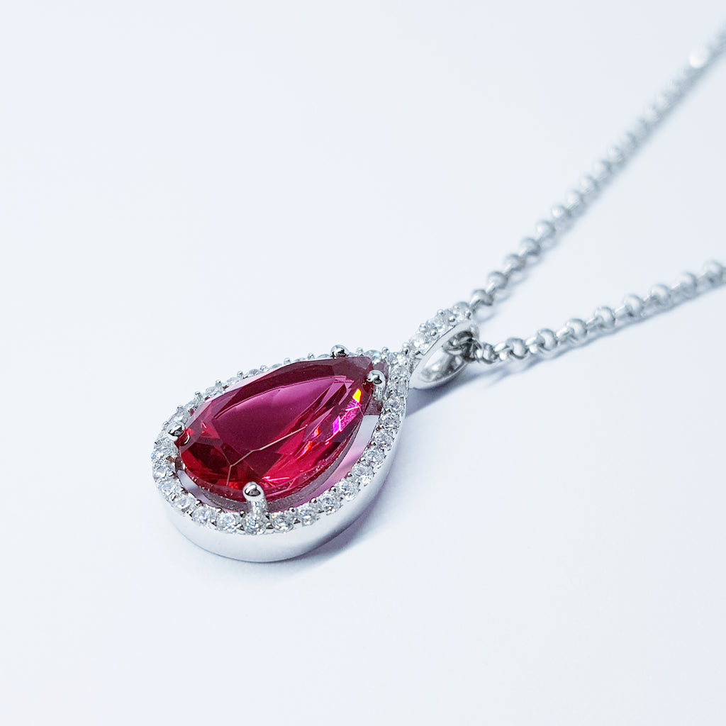 Large red teardrop shaped necklace, sterling silver pendant
