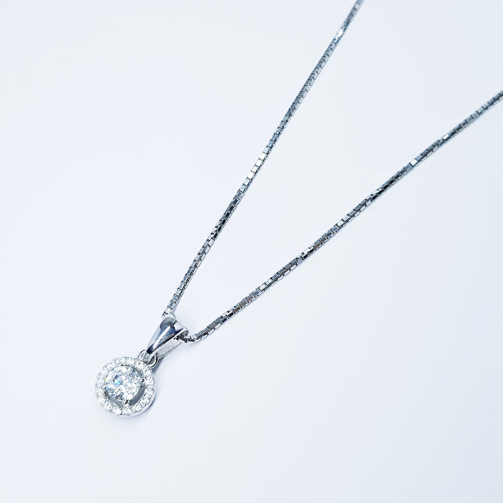 Delicate small round sterling silver necklace