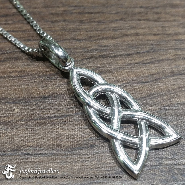 Silver Celtic pendant, Irish necklace, celtic chain