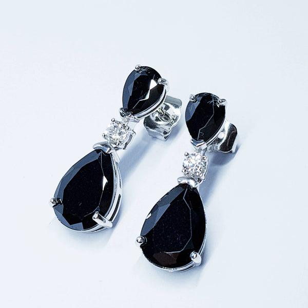 Drop black earrings, Teardrop shaped stud earring, Black and white earring, Black diamond jewelry