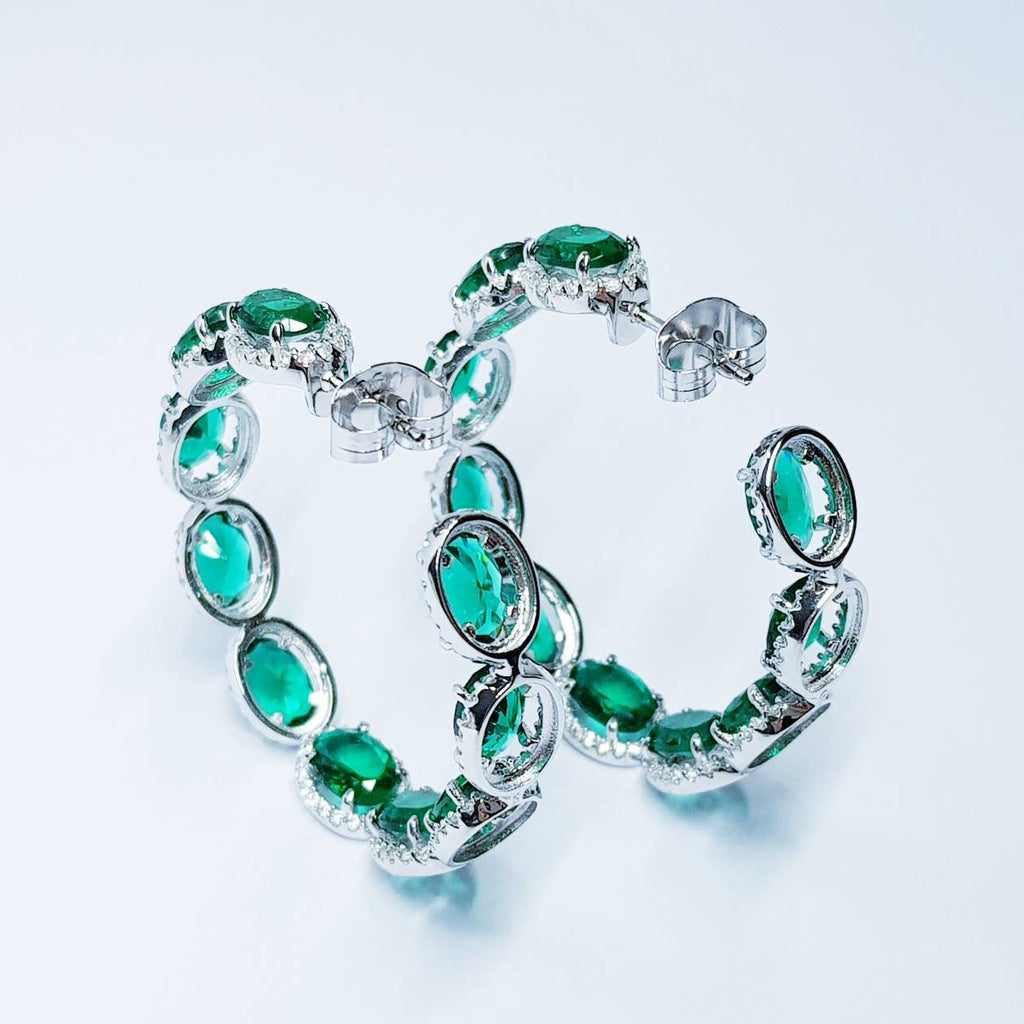 Large Green Earrings, Statement Earrings, Glamourous Jewelry, Emerald and Diamonds
