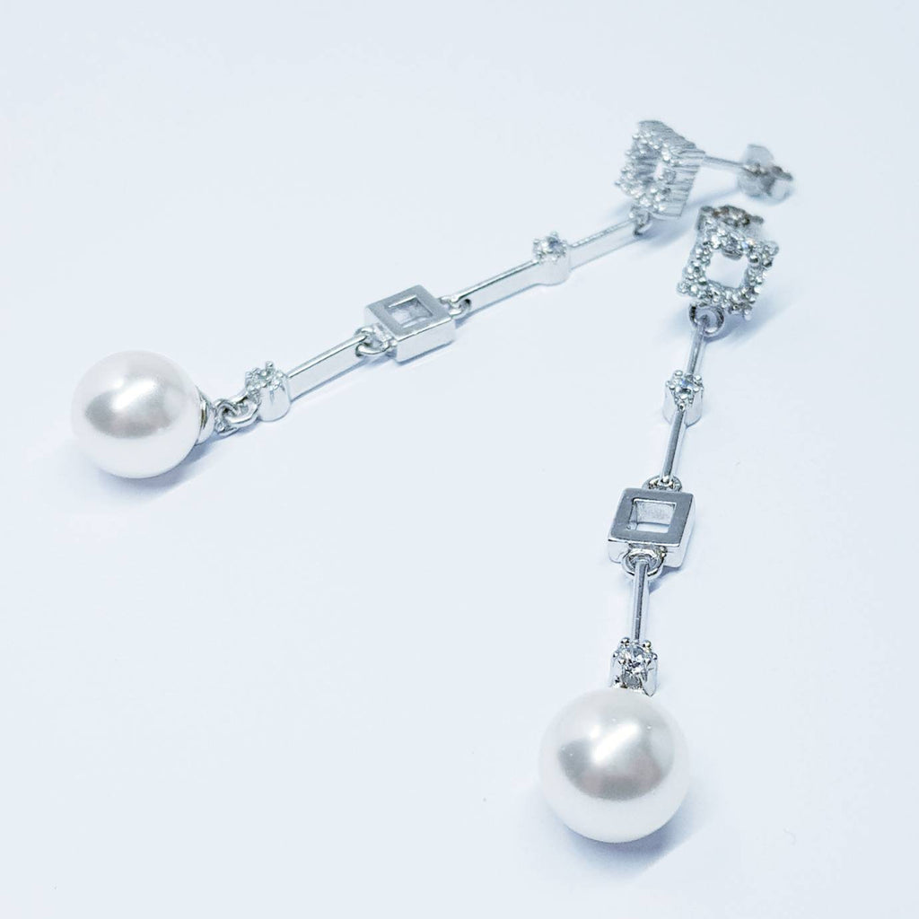 Long pearl drop earrings, stud earrings, gift for women, vintage earrings, Pearl earrings, earrings for women, Bridal drop earrings