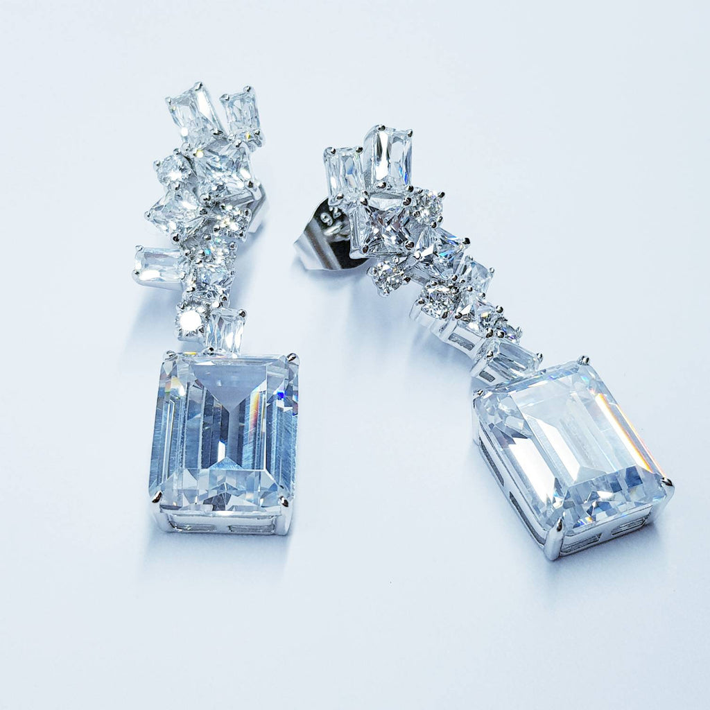 Emerald cut Earrings, Statement Earrings, Glamourous Jewelry, ballroom Earrings, drop and dangle Earrings, vintage earrings