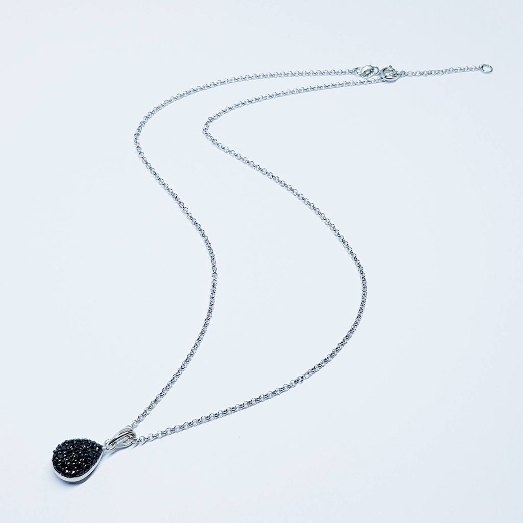 Sterling silver black necklace, small black pendant, Vintage necklace, antique style pendant
