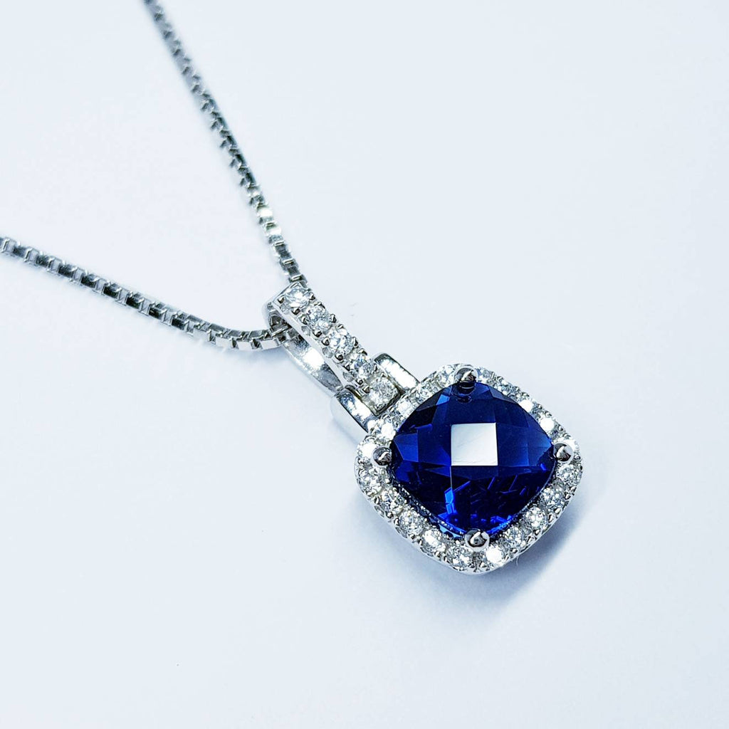 Royal Blue Sapphire necklace, Antique pendant, diamond simulant Jewelry, September bithstone, Vintage Jewelry