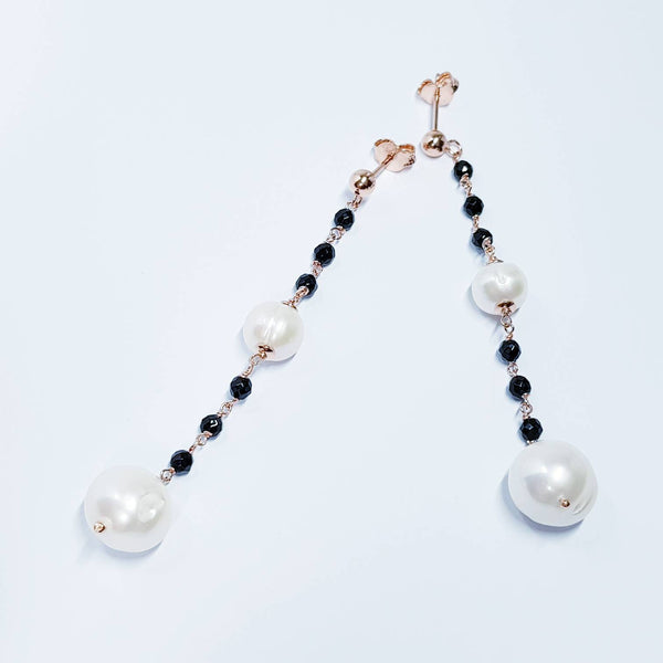 Pearl drop earrings, Rose gold earrings, Baroque pearl earrings, black earrings, old world earrings, earrings for women