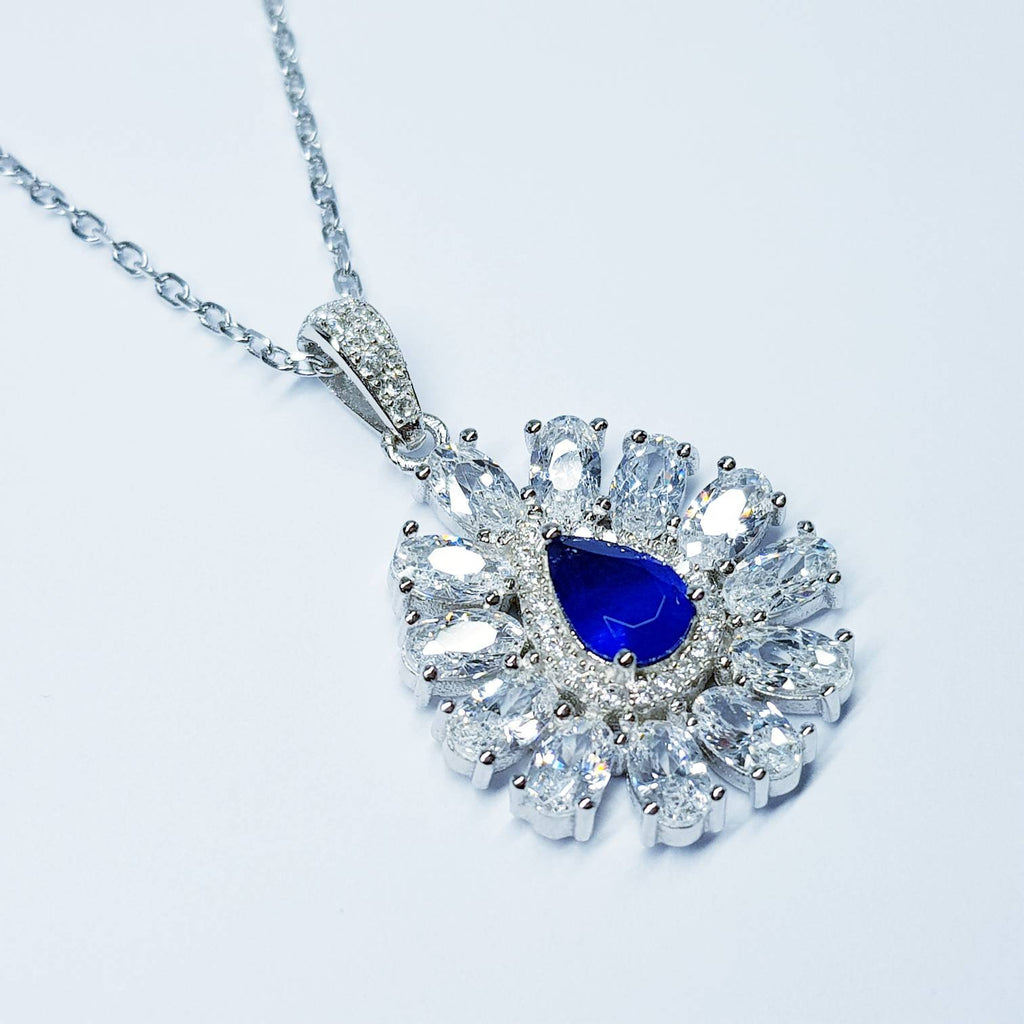 Sapphire blue necklace, Antique pendant, diamond simulant Jewelry, September bithstone, Vintage Jewelry