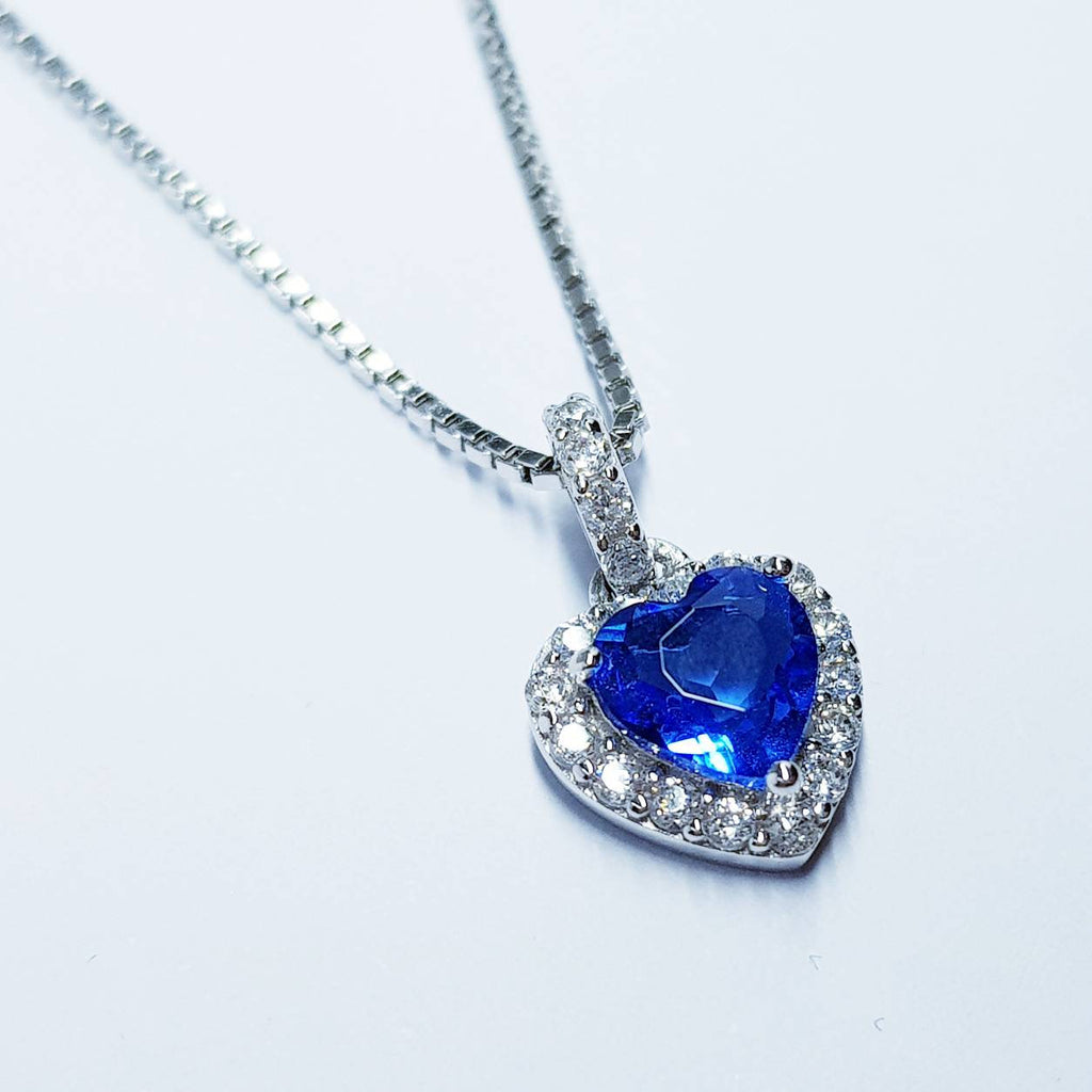 Sapphire blue necklace, Antique pendant, heart Jewelry, September bithstone, dainty necklace