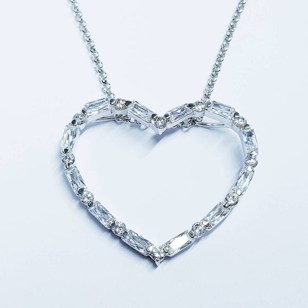 Heart necklace, Antique pendant, heart Jewelry, diamond heart necklace, jewelry gift for women
