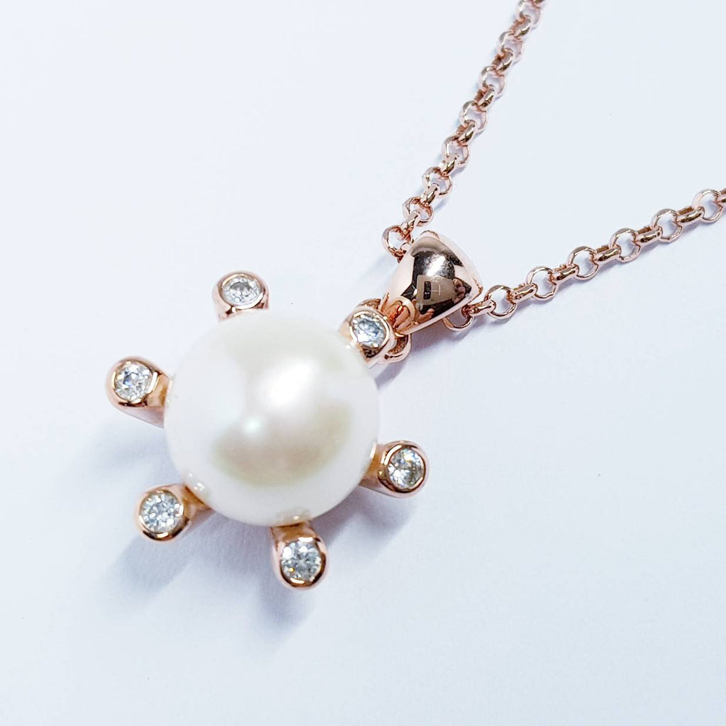 Rose gold pearl Pendant, Sterling silver pearl Pendant, Classic Jewelry, Real Pearl necklace, Elegant Pendant