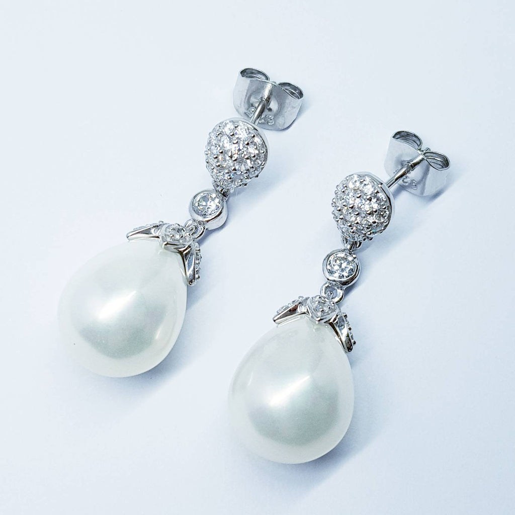 Large teardrop shaped faux pearl earrings perfect for Bridal or evening wear