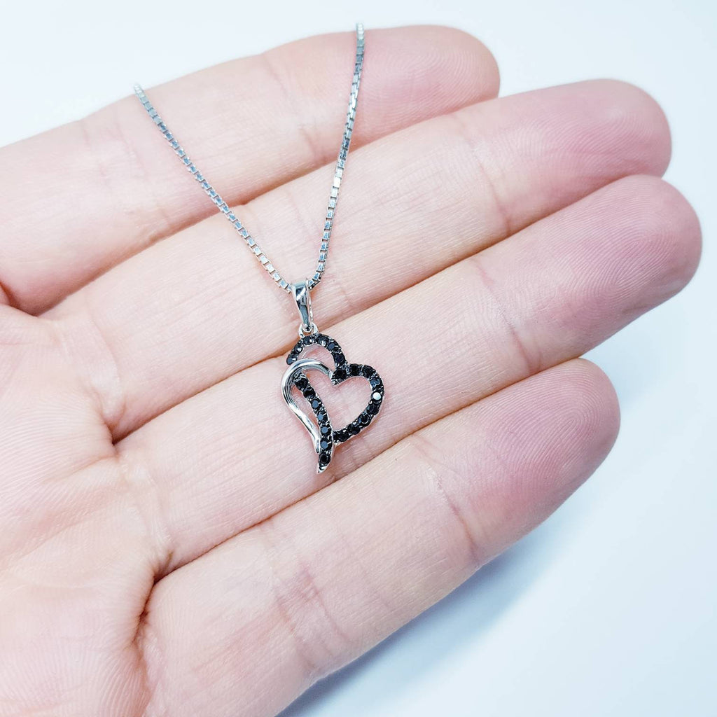 Heart necklace, interlocking hearts pendant, black heart pendant, dainty heart, elegant necklace