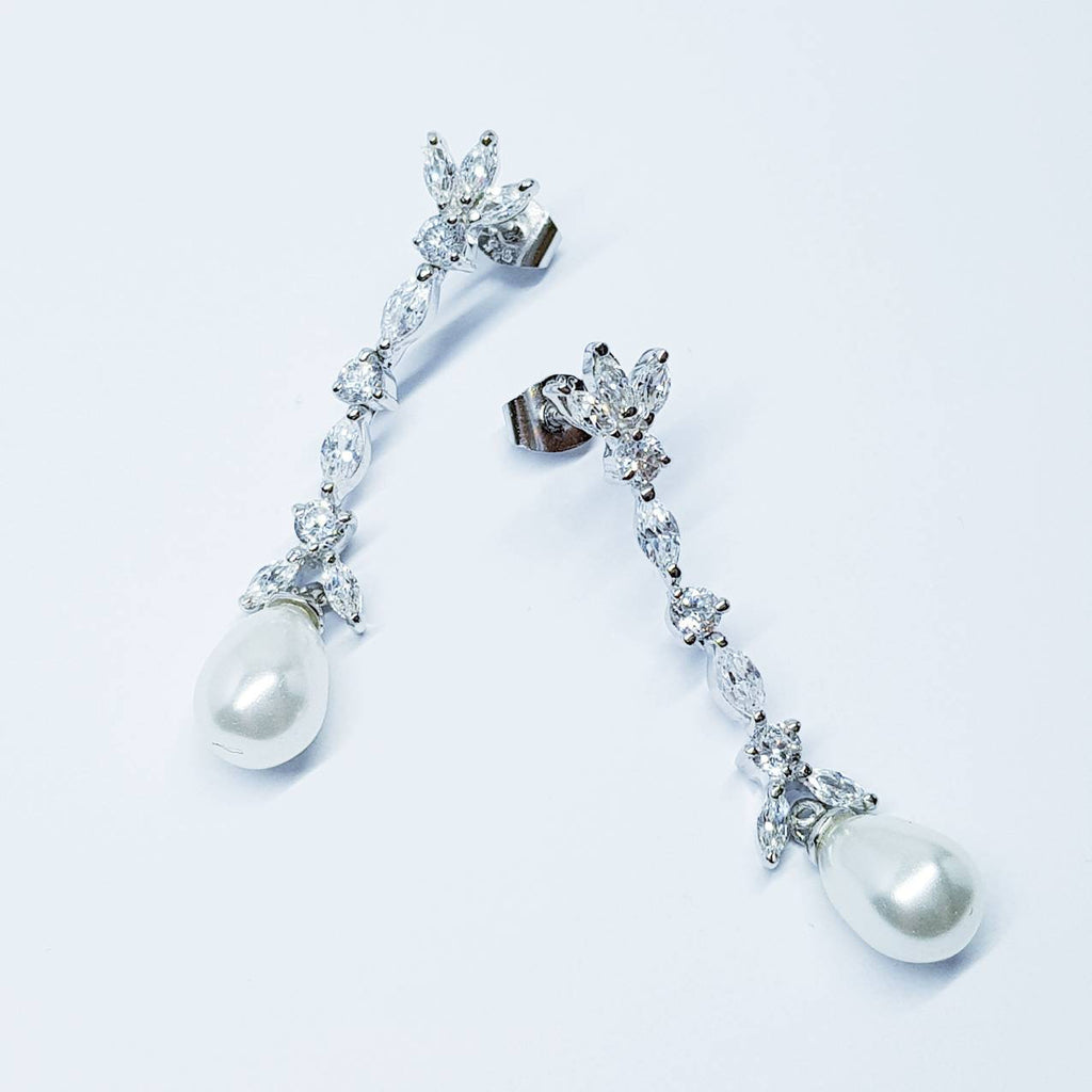 Pearl drop earrings, Bridal earrings, long teardrop pearl earrings, vintage earrings, Diamond Pearl Earrings