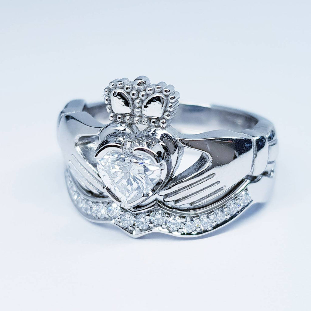 Platinum Claddagh Engagement and wedding ring set