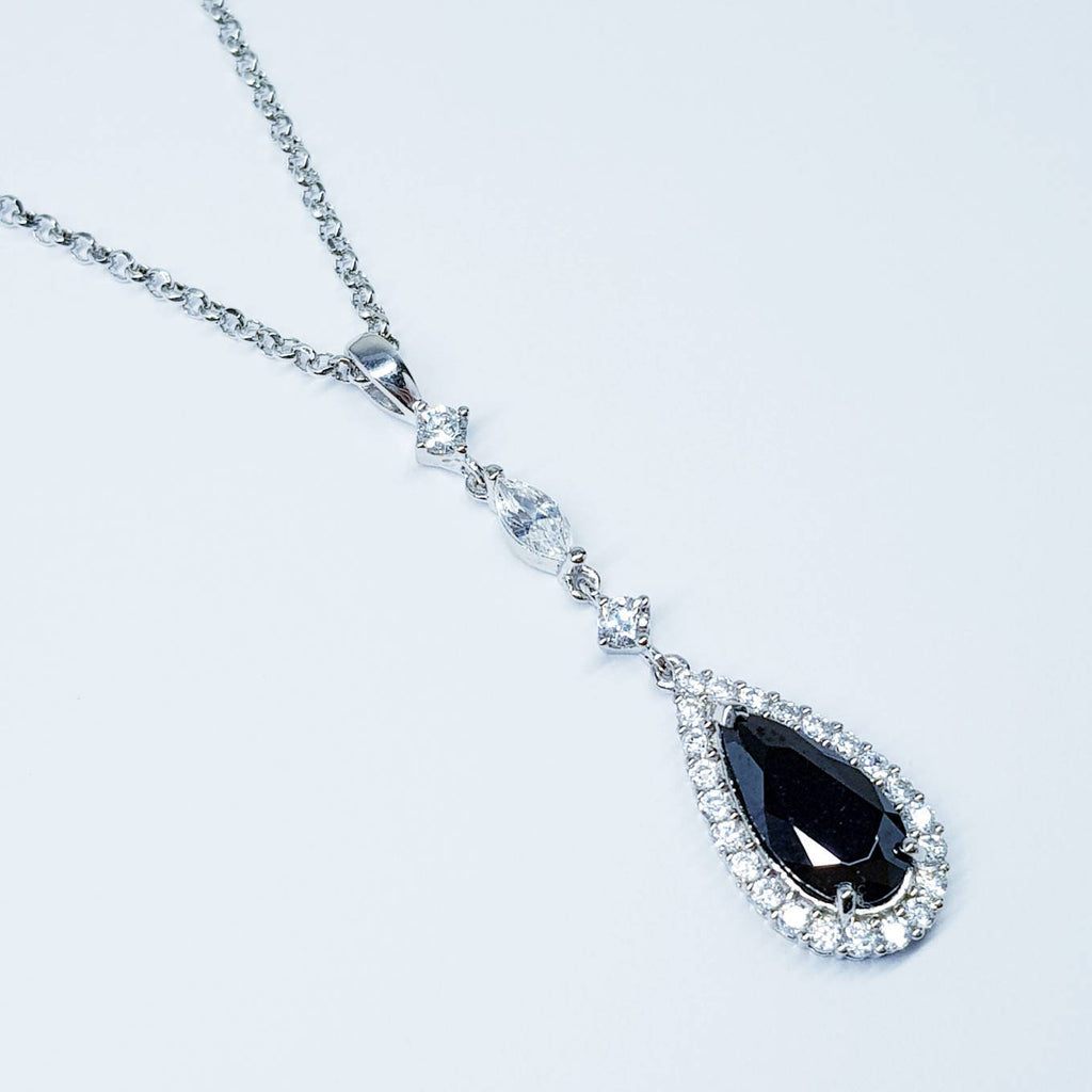 Black teardrop necklace with round and marquis cz's in a vintage setting