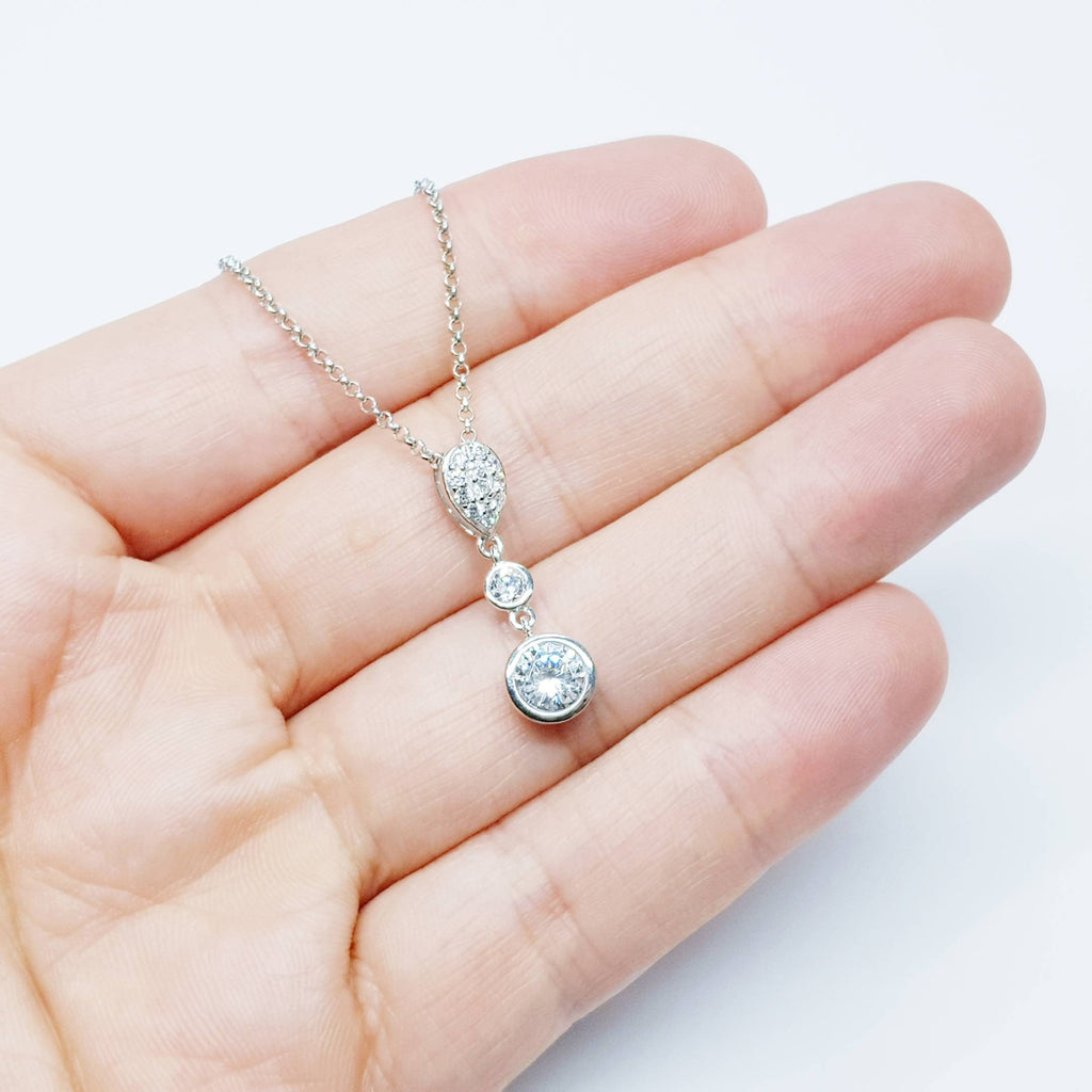 Elegant cubic zirconia pendant  floating on sterling silver chain