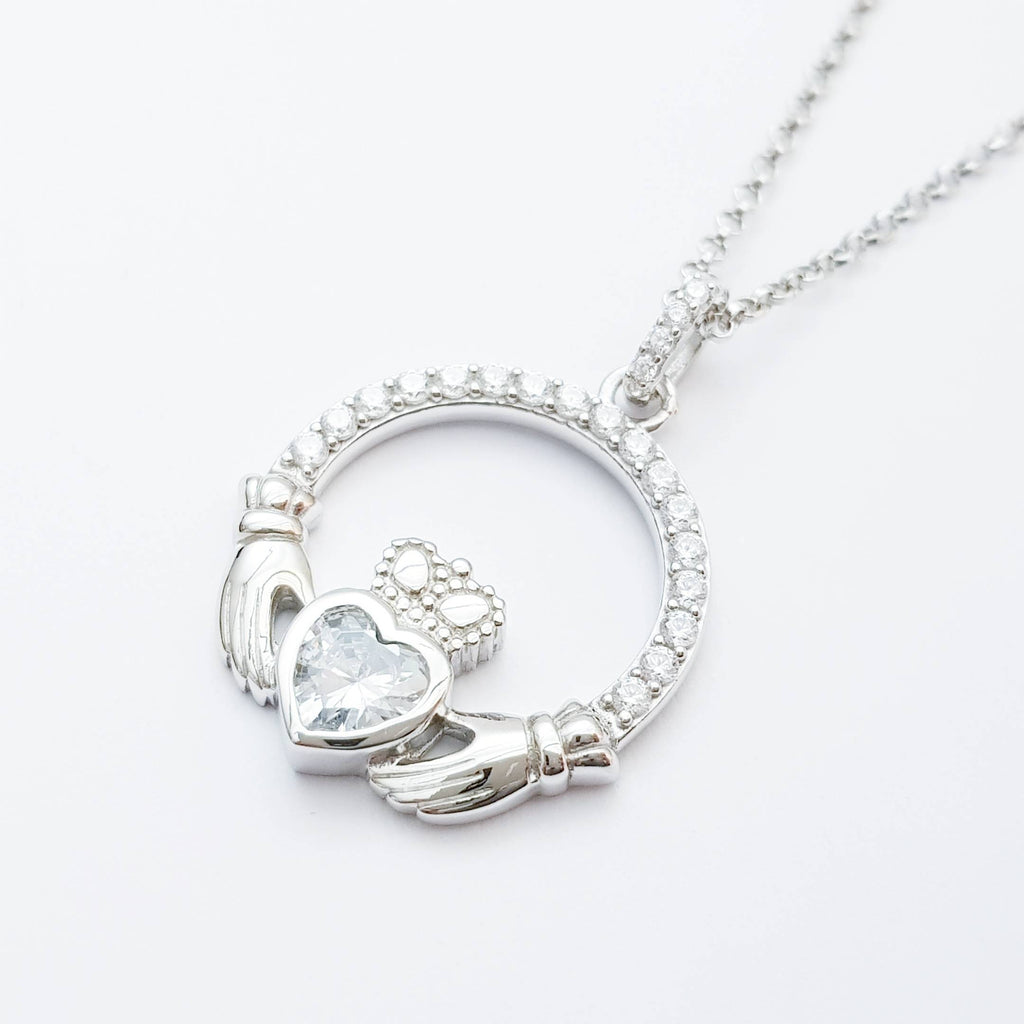 Silver Claddagh pendant, diamond white april birthstone claddagh necklace, Silver Claddagh pendant