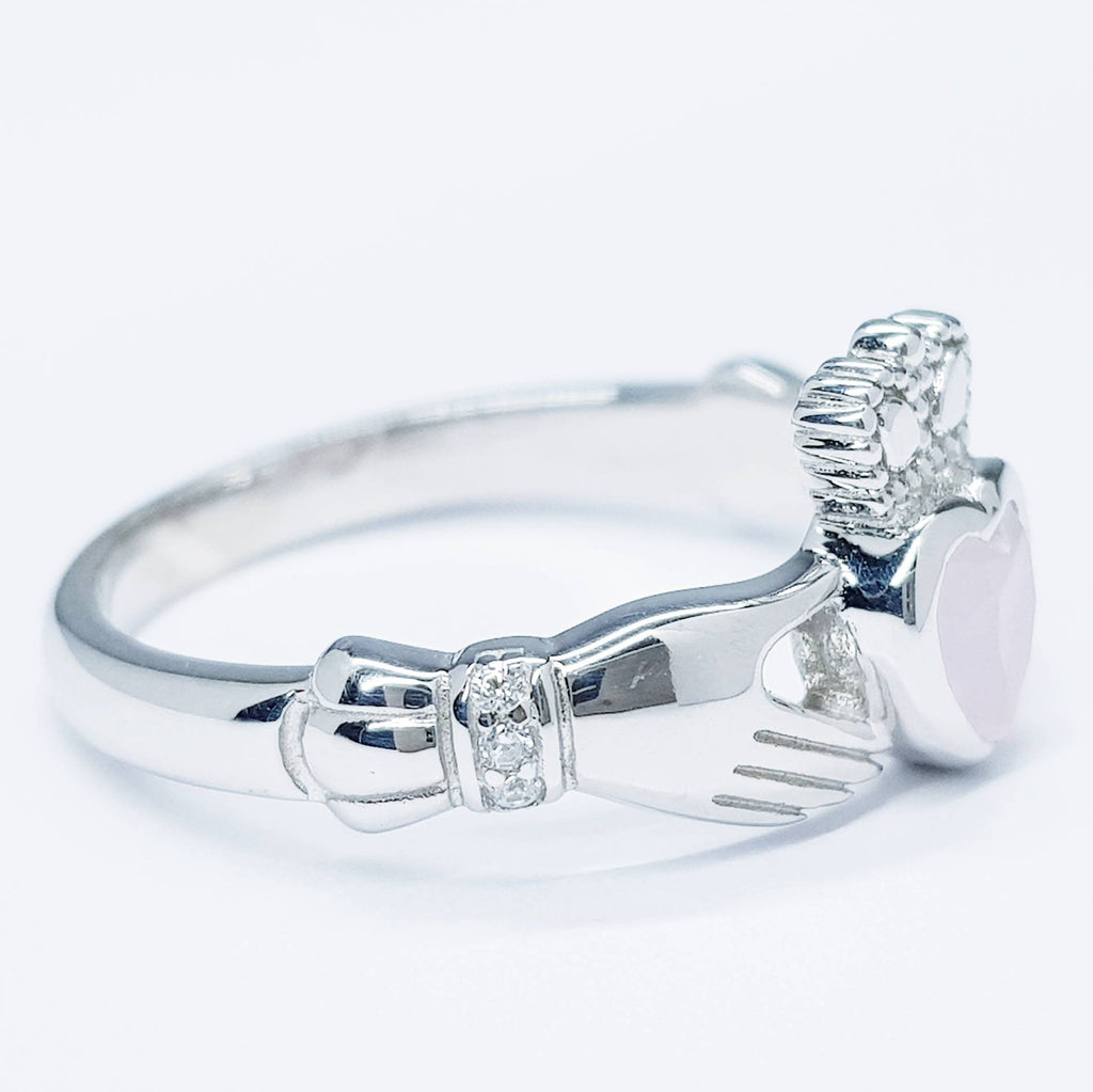 Irish Claddagh ring set with pink heart shaped stone from Galway, Ireland