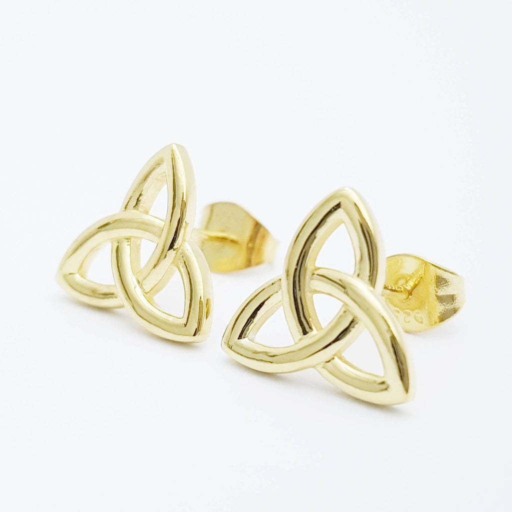 Gold Celtic knot Earrings, Celtic studs, trinity knot stud earrings, simple stud earrings