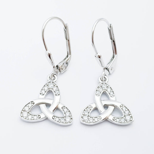 Silver drop Celtic knot Earrings, Celtic lever back, trinity knot earrings