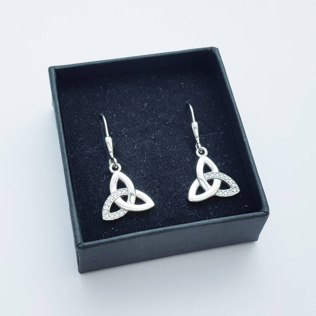 Drop and dangle Celtic knot Earrings, Celtic lever back, silver trinity knot earrings