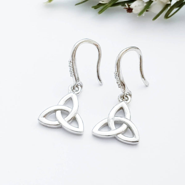 Minimal Celtic drop Earrings, trinity knot French wire earrings, small silver Celtic earrings