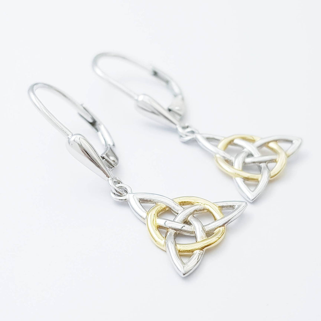 Silver Celtic knot Earrings, Irish Earrings, two tone Celtic Earrings