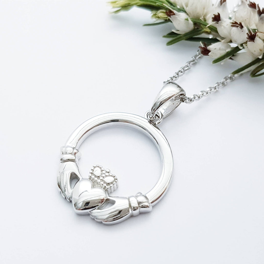 Sterling silver Claddagh pendant, claddagh necklace made in Ireland