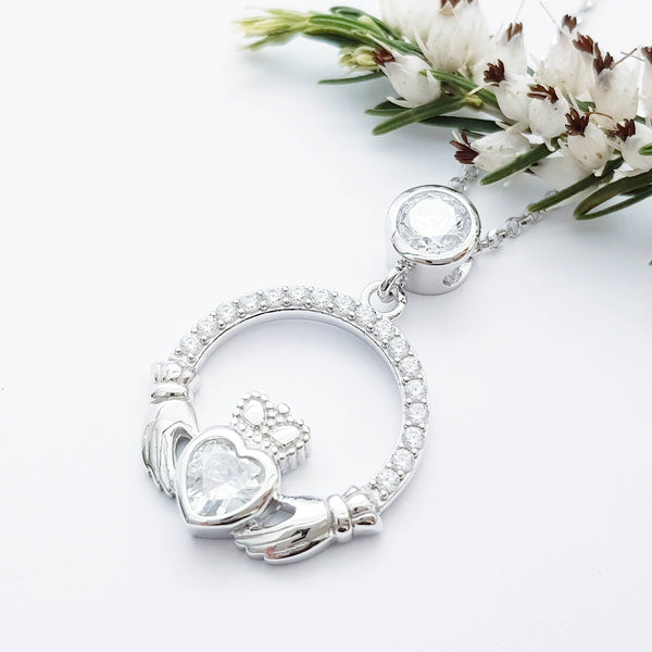 Silver Claddagh pendant, diamond white april birthstone claddagh necklace, claddagh celtic pendant