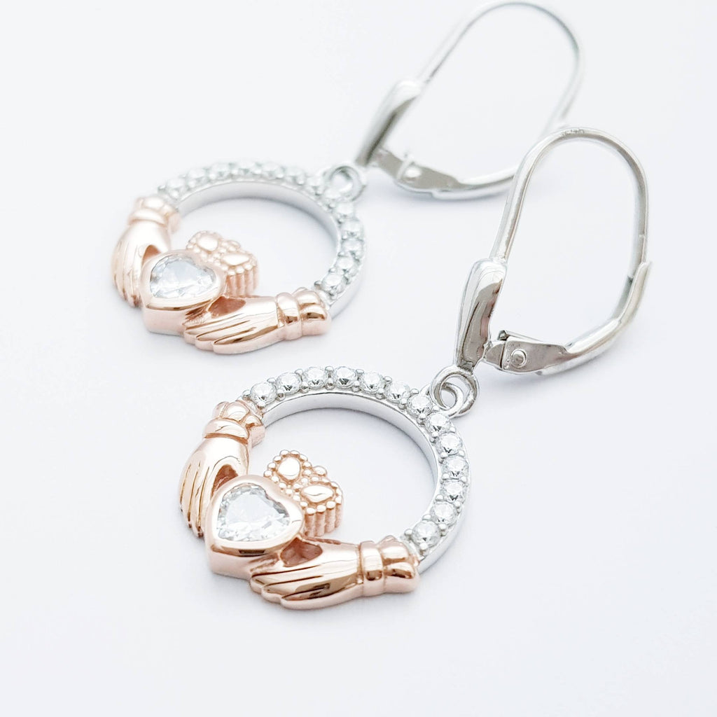 Claddagh Earrings, Silver Claddagh Earrings, Claddagh drop Earrings