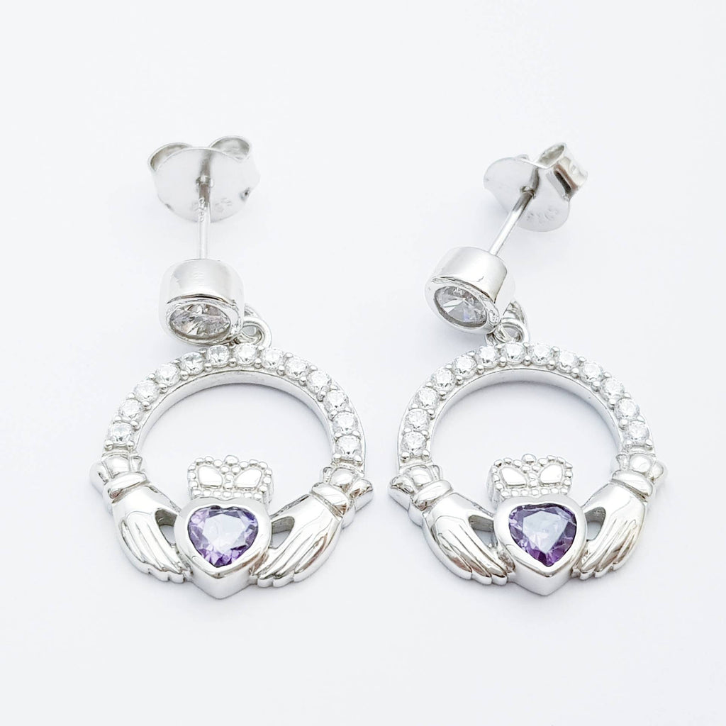 Claddagh drop earrings with purple stone heart, February  birthstone