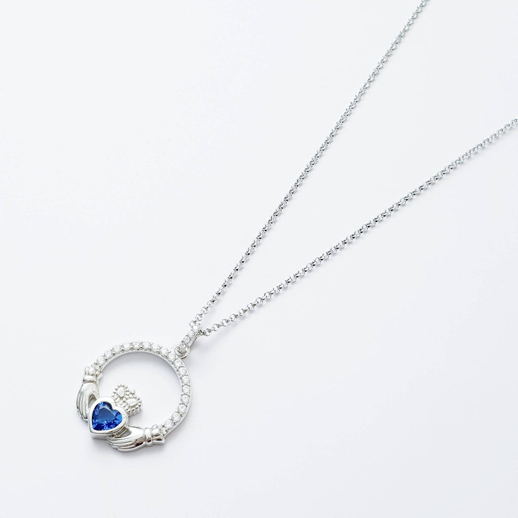 Sterling Silver Claddagh pendant,  sapphire blue Claddagh necklace  from Ireland